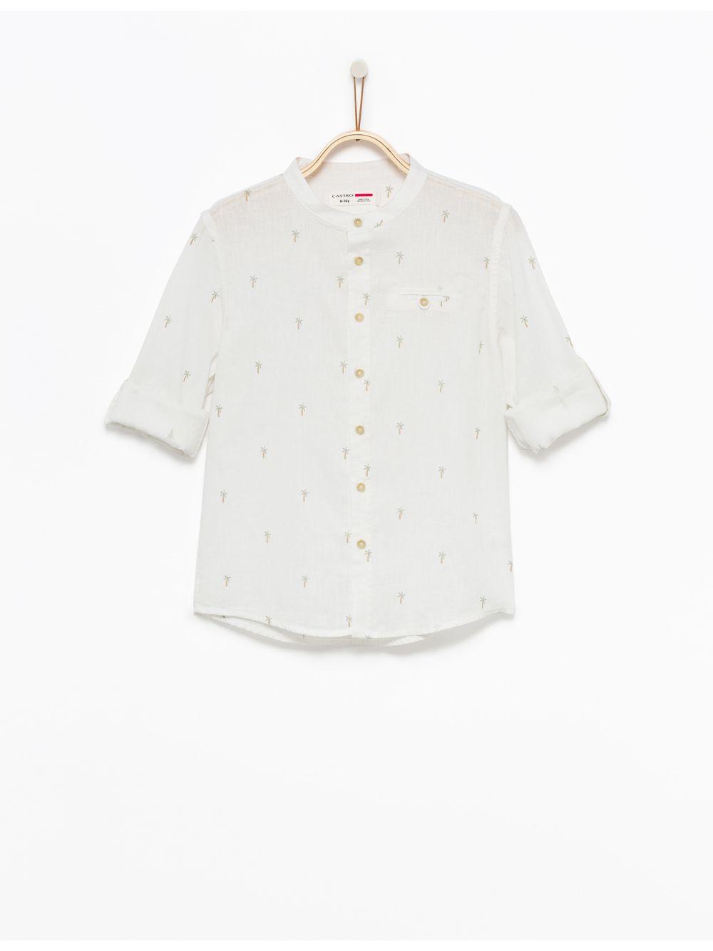חולצה מכופתרת פשתן בהדפס דקלים
