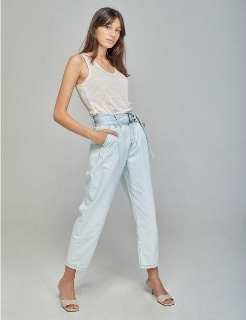 ג'ינס MOM עם חגורת קשירה