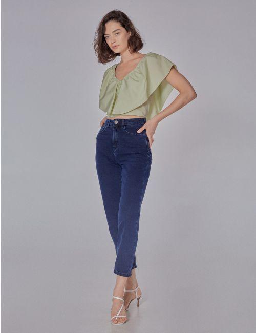 ג'ינס MOM בשטיפת אסיד