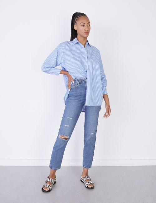 ג'ינס STRIGHT עם קרעים