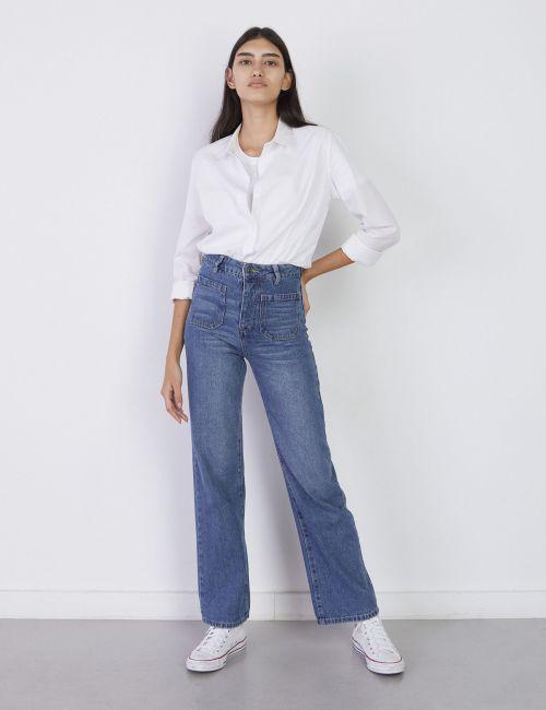 ג'ינס WIDE Leg עם כיסים קדמיים