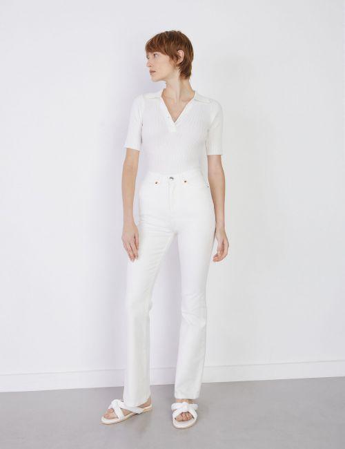 ג'ינס FLARE לבן בגזרה גבוהה