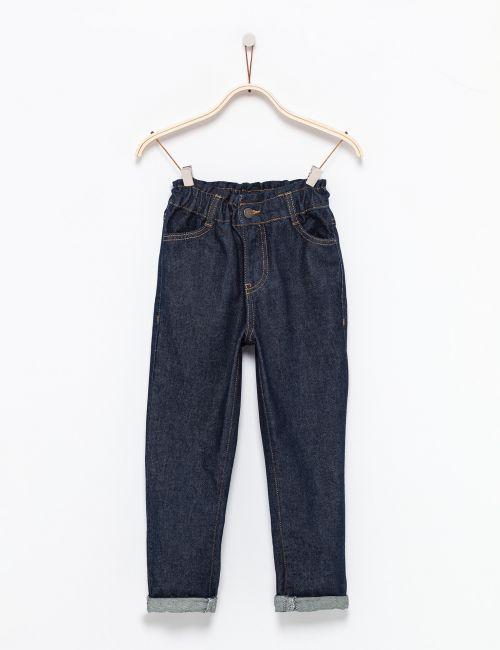 ג'ינס בגזרה גבוהה עם גומי במותן
