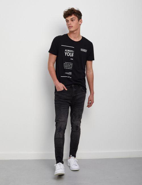 ג'ינס SIMON Carrot שחור עם קרעים