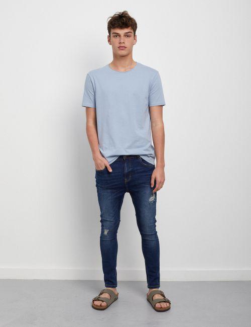 ג'ינס SIMON Carrot במראה מכובס עם קרעים