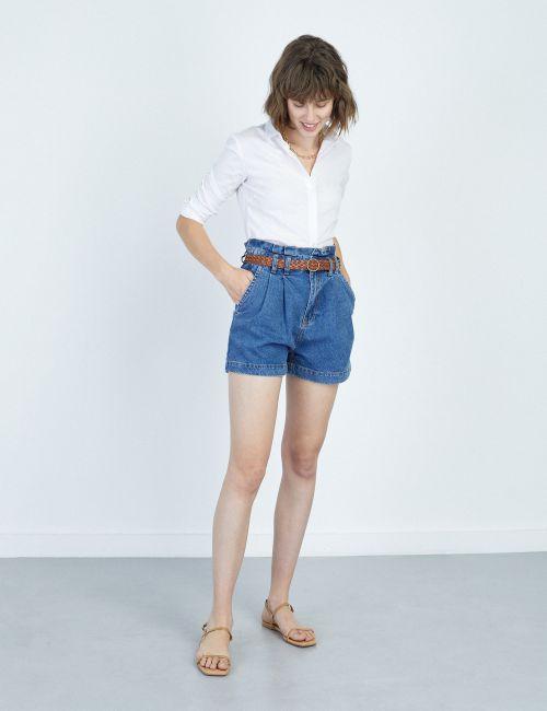 ג'ינס בגזרה גבוהה עם חגורה