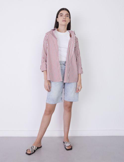ג'ינס ברמודה מכפלת גזורה