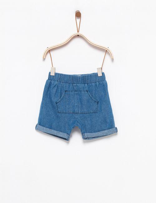 ג'ינס שורטס עם כיס קדמי