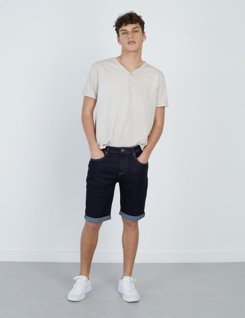 ג'ינס ברמודה כחול כהה