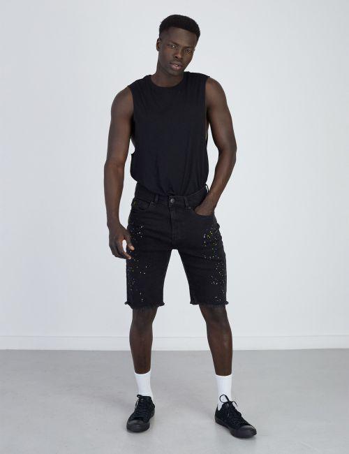 ג'ינס ברמודה עם כתמי צבע ניאון