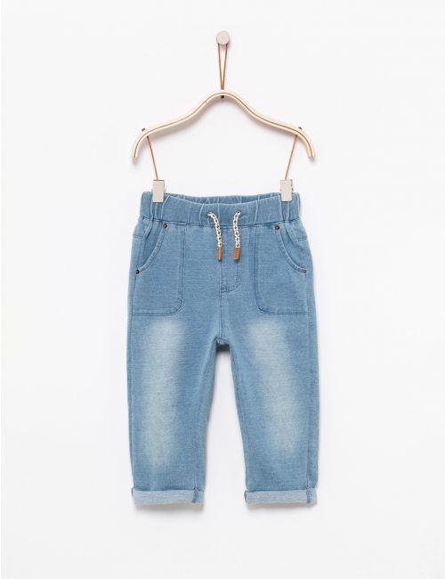מכנסי ג'ינס מפוטר עם שרוך פרחוני