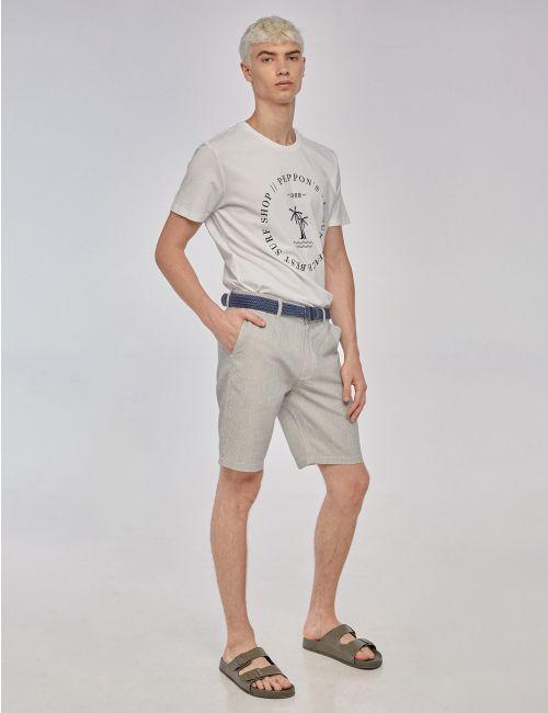 מכנסיים עם פסים וחגורת קנבס