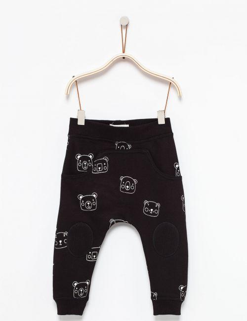 מכנסי פוטר דקים בהדפס דובי