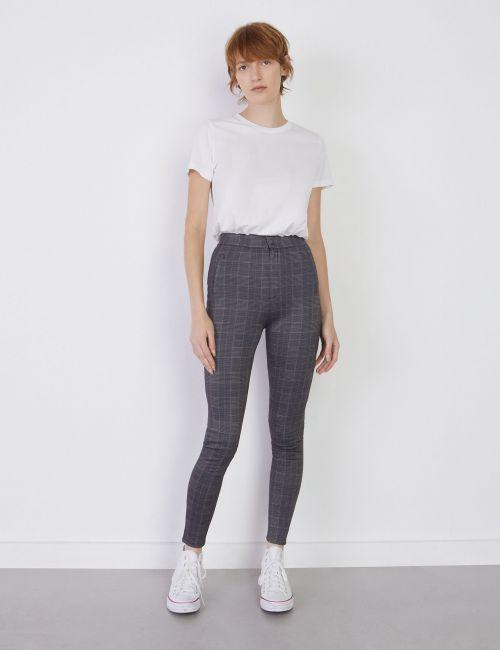 מכנסיים משובצים בגזרה צמודה וגבוהה