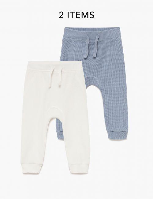 מארז 2 זוגות מכנסיים ארוכים בטקסטורת וופל