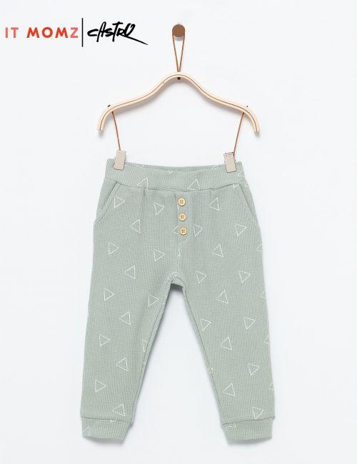 מכנסיים מודפסים בטקסטורת וופל