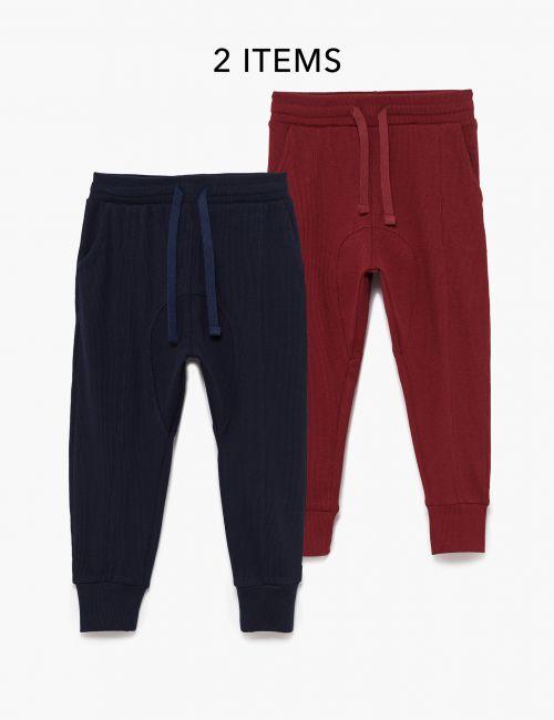 מארז 2 זוגות מכנסיים בטקסטורת וופל