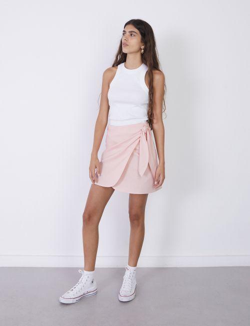 חצאית מעטפת בשילוב פשתן