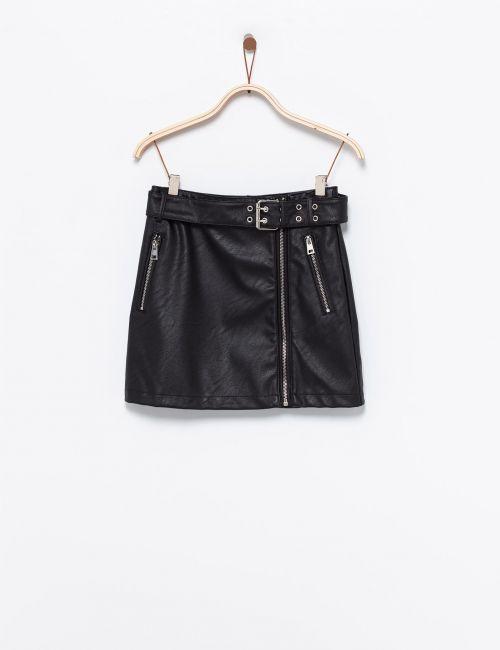חצאית במראה עור עם רוכסנים