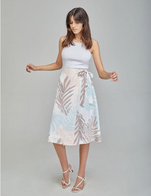 חצאית מעטפת בהדפס עלים