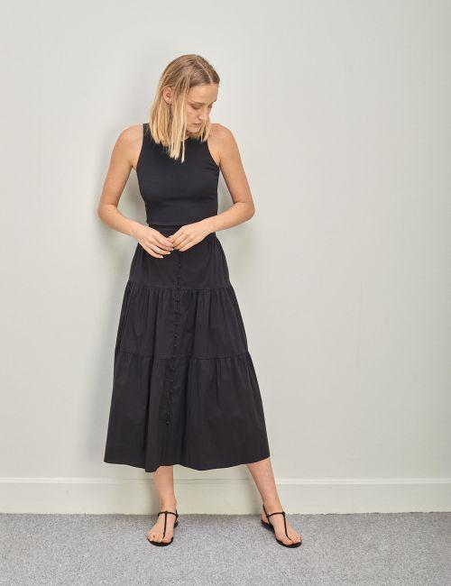 חצאית פופלין עם כפתורים