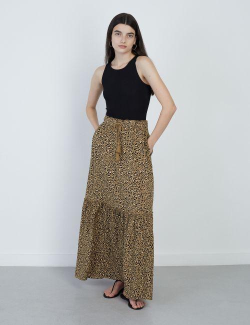 חצאית מקסי קומות עם שרוך קשירה