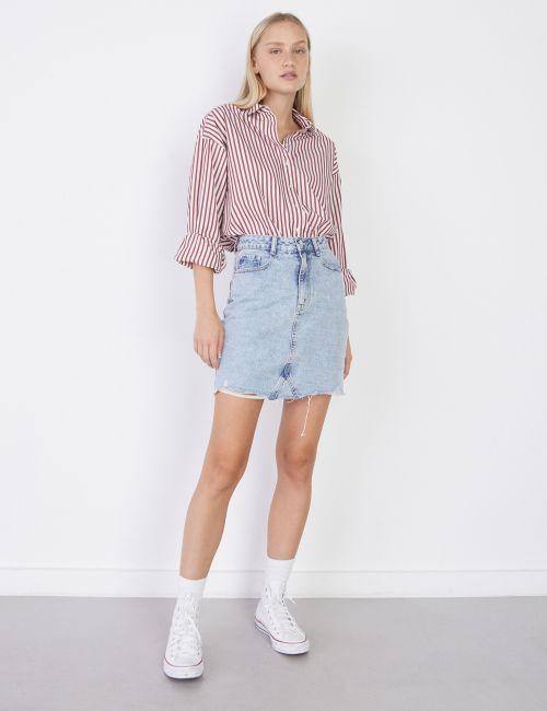 חצאית ג'ינס מכפלת פרומה