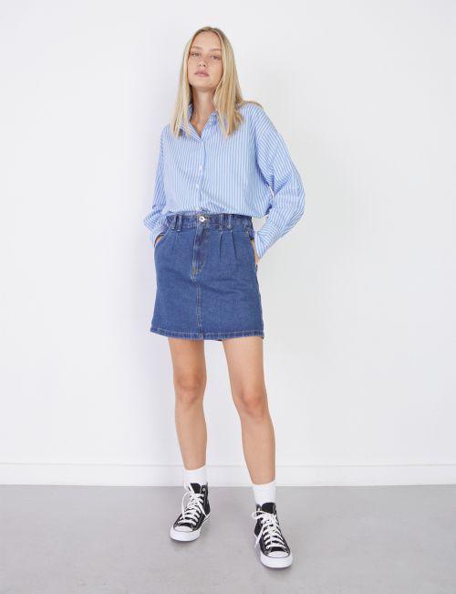 חצאית ג'ינס קפלים