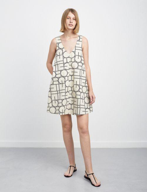 שמלת כתפיות מודפסת בגזרת A