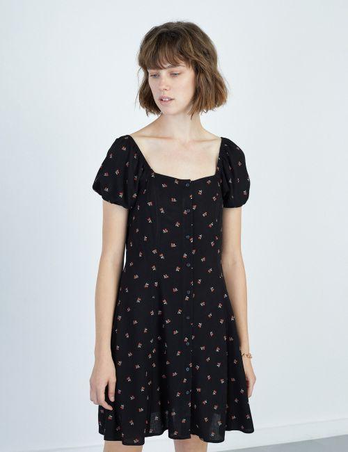 שמלה מודפסת עם שרוולי בלון