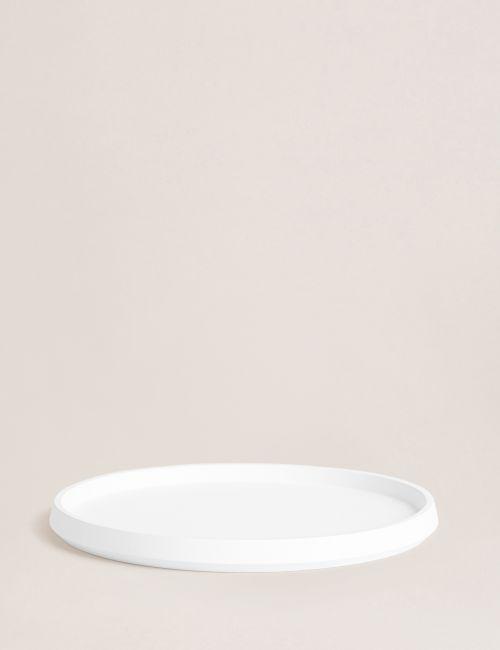 מגש עגול לבן לאביזרי אמבטיה
