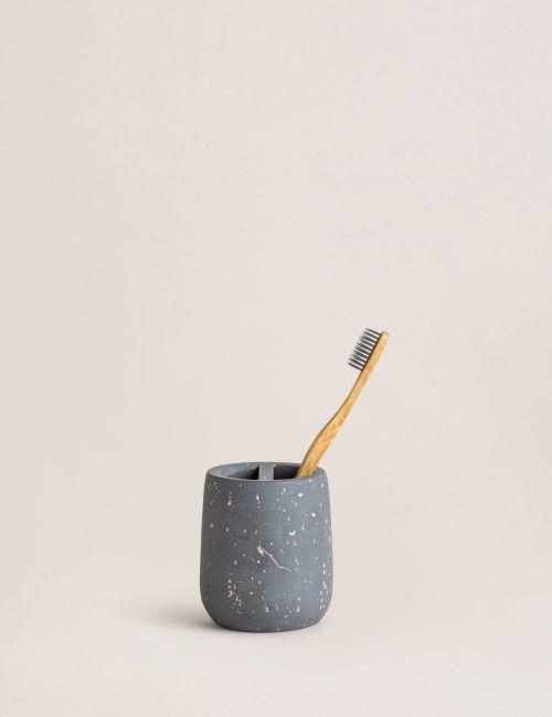 כלי למברשת שיניים בטון עם מחיצה