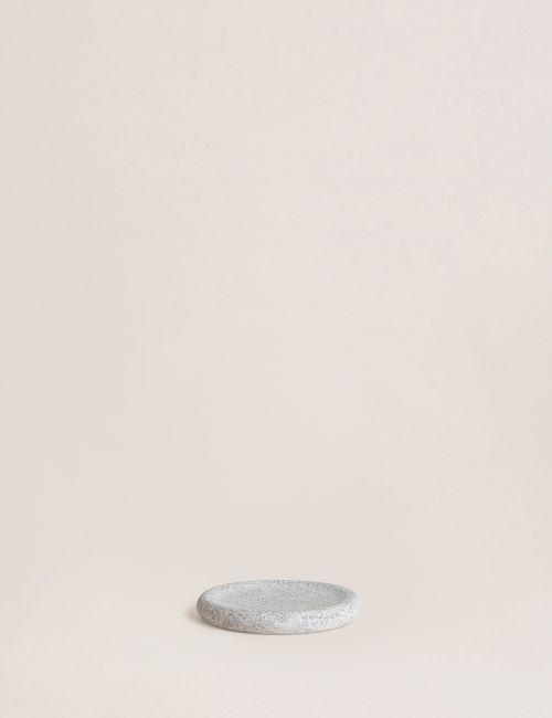 כלי סבון עגול דוגמת בטון אפור בהיר