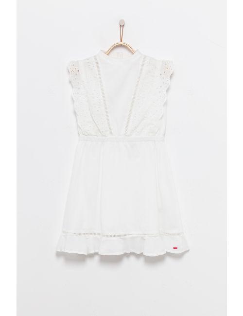 שמלת תחרה לבנה עם כפתורים בגב