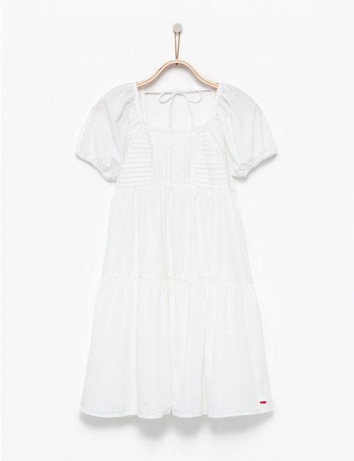 שמלת קומות לבנה עם שרוך קשירה