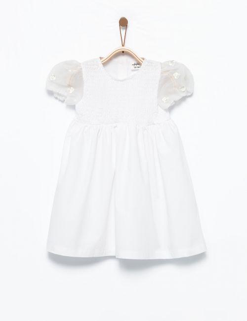 שמלה עם שרוולי אורגנזה תפוחים