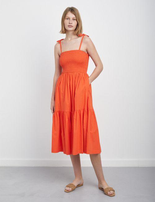 שמלת ציפקה ניאון עם כתפיות קשירה