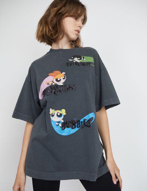 חולצת טי אוברסייז בנות הפאוור פאף