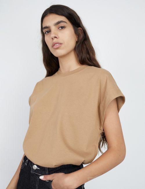 חולצת טי ריב שרוולי עטלף