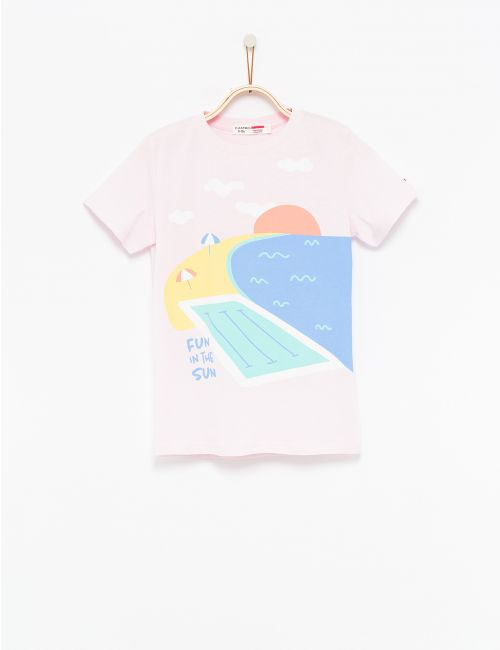 חולצת טי בהדפס חוף ים