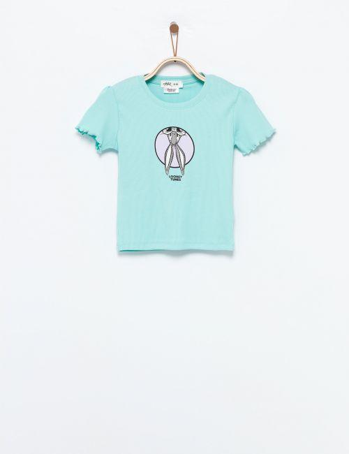 חולצת טי ריב עם רקמת לוני טונס