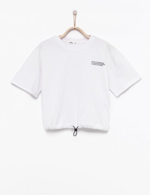 חולצת קרופ עם גומי במותן