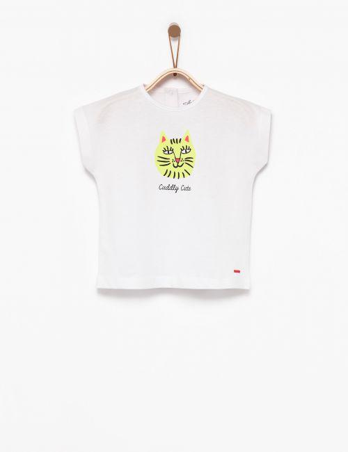 חולצת טי חתול נאון צהוב