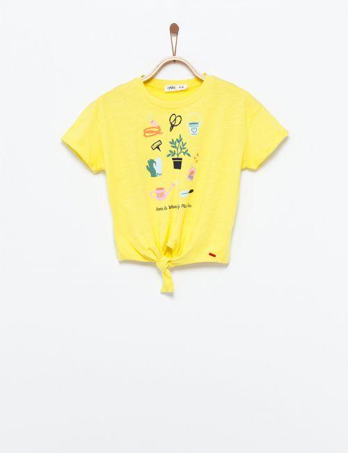 חולצת טי קשירה בהדפס גינה