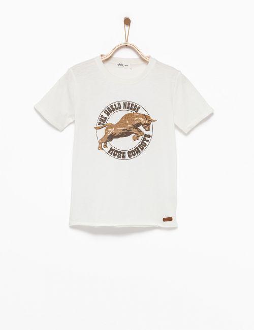 חולצת טי עם הדפס שור