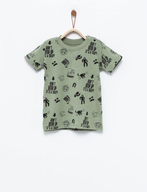 חולצת טי בהדפס רוק