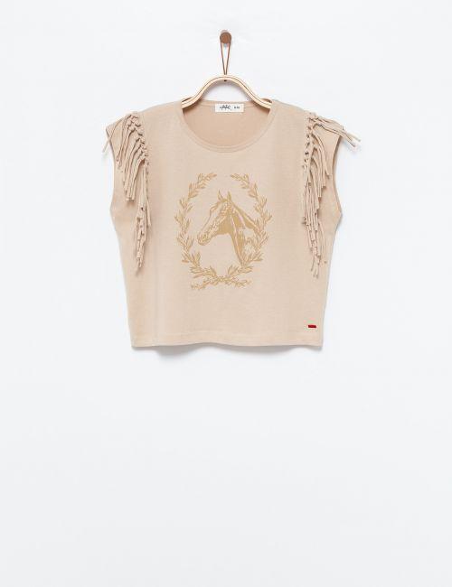 חולצה מודפסת עם פרנזים