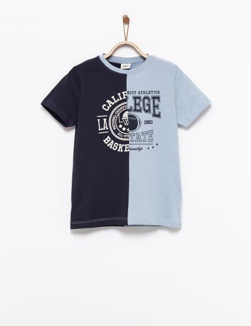 חולצת טי דפוס חצי חצי