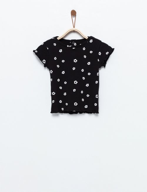 חולצת טי ריב פרחים קטנים