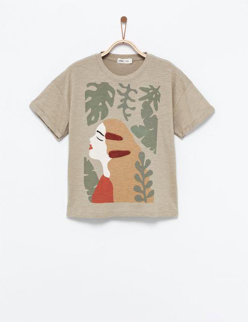 חולצת טי בהדפס ילדה